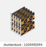 video card set of mining... | Shutterstock .eps vector #1105450394