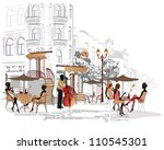 series of street cafes in the... | Shutterstock .eps vector #110545301
