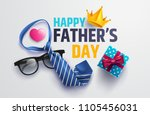 flat lay style of happy father... | Shutterstock .eps vector #1105456031