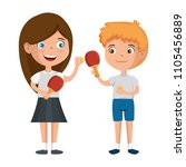little kids couple playing ping ... | Shutterstock .eps vector #1105456889