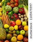 lots of vegetables and fruits... | Shutterstock . vector #1105475597