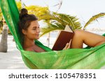 leisure on the beach. happy and ... | Shutterstock . vector #1105478351