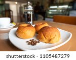 hot coffee bun bread ...   Shutterstock . vector #1105487279
