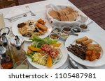 organic food on the white table ...   Shutterstock . vector #1105487981