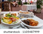 organic food on the white table ...   Shutterstock . vector #1105487999