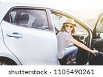 young beautiful female travel... | Shutterstock . vector #1105490261