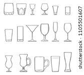 vector set of sketch stemware.... | Shutterstock .eps vector #1105501607