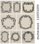 set of vintage frames and... | Shutterstock .eps vector #110551055