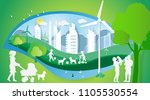 paper art of concept world... | Shutterstock .eps vector #1105530554