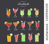 cocktails collection in... | Shutterstock .eps vector #1105534154