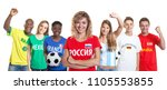 Laughing russian soccer supporter with fans from other countries on isolated white background for cut out - Translation: Brazil, Mexico, Russia, France, Germany, Spain