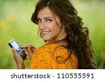 beautiful young woman close up... | Shutterstock . vector #110555591