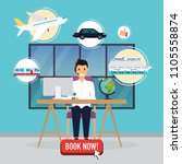 travel agency concept. man... | Shutterstock .eps vector #1105558874