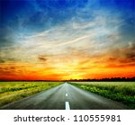 long country road with white... | Shutterstock . vector #110555981