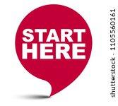 red vector bubble banner start... | Shutterstock .eps vector #1105560161