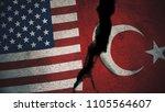 united states vs turkey flags... | Shutterstock . vector #1105564607