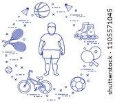 fat boy  badminton rackets and... | Shutterstock .eps vector #1105571045