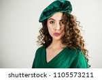 retro girl with stylish makeup... | Shutterstock . vector #1105573211