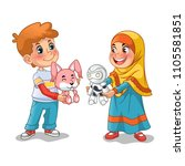 muslim girl and boy exchanging... | Shutterstock .eps vector #1105581851