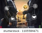 ripple xrp and cryptocurrency...   Shutterstock . vector #1105584671