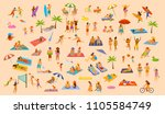 people on beach fun graphic set ... | Shutterstock .eps vector #1105584749