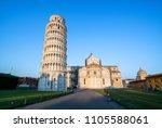 leaning tower of pisa in pisa ... | Shutterstock . vector #1105588061