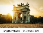 """Small photo of Arco della Pace or """"Arch of Peace"""" in Milan, Italy, built as part of Foro Bonaparte to celebrate Napoleon's victories. It is city gate of Milan located at center of Simplon Square in Milan, Italy."""
