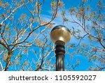 antique streetlamp on blue sky... | Shutterstock . vector #1105592027