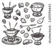fondue set. traditional swiss... | Shutterstock .eps vector #1105596641