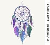 hand drawn dreamcatcher with... | Shutterstock .eps vector #1105598915