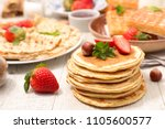assorted pancake  waffle and... | Shutterstock . vector #1105600577