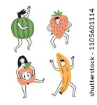 cute fruit characters. set of... | Shutterstock .eps vector #1105601114