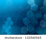 Abstract blue background with hexagons and wires | Shutterstock vector #110560565
