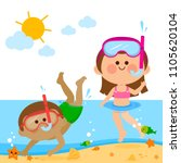 a boy and a girl swimming at... | Shutterstock .eps vector #1105620104