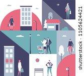 shopping   flat design style... | Shutterstock .eps vector #1105624421