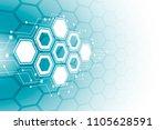 abstract hexagonal molecular...   Shutterstock .eps vector #1105628591