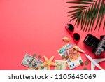 traveler accessories on trendy... | Shutterstock . vector #1105643069