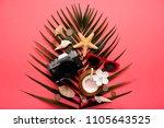 traveler accessories on trendy... | Shutterstock . vector #1105643525