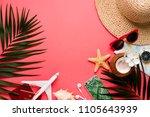 traveler accessories on trendy... | Shutterstock . vector #1105643939