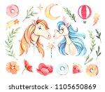 hand drawn watercolor... | Shutterstock . vector #1105650869