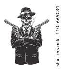 skeleton gangster with... | Shutterstock .eps vector #1105669034