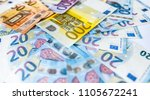 Different Euro banknotes , pile of paper euro banknotes - stock photo