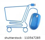 Online shopping, blue mouse in the shape of a shopping cart on a white background. - stock photo
