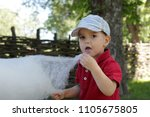 funny little boy eating cotton... | Shutterstock . vector #1105675805