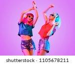 high fashion dj girl. two young ... | Shutterstock . vector #1105678211
