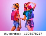 dj girl with pink blond fashion ... | Shutterstock . vector #1105678217