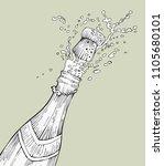 opening champagne bottle... | Shutterstock .eps vector #1105680101