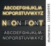 neon vector alphabet  set of... | Shutterstock .eps vector #1105684595