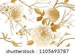 english garden roses  berries... | Shutterstock .eps vector #1105693787