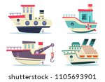 fishing and cruise boats set.... | Shutterstock .eps vector #1105693901